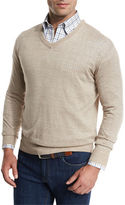 Peter Millar Lightweight Wool-Linen V-Neck Sweater