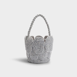 MEHRY MU Cha Cha Shell Bag In Shimmery Silver Satin Rope
