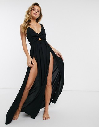 ASOS DESIGN tie back beach maxi dress with twist front detail in black