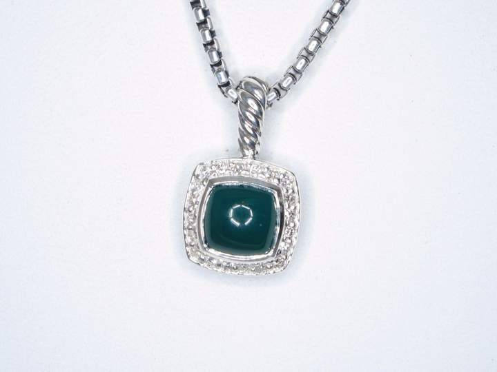 David Yurman Petite Albion 925 Sterling Silver with Green Onyx and 0.17ct Diamond Necklace