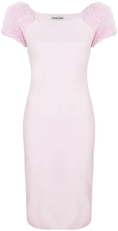 Chiara Boni frilled sleeves fitted dress