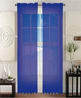 Elegant Comfort 2-Piece SOLID SHEER PANEL with 2inch ROD POCKET - Window Curtains 60-inch width X 84-inch Length - Neon Blue