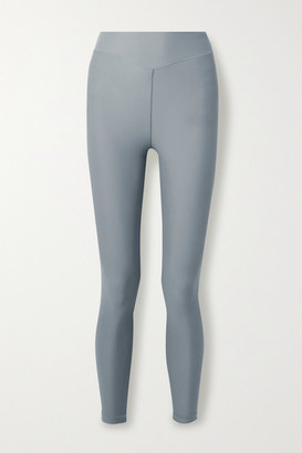 Adam Selman Sport Plunge Striped Stretch Leggings - Light blue