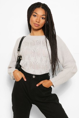 boohoo Cable Open Stitch Jumper