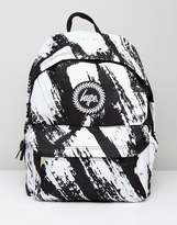 Hype Backpack In Black With Brush Print