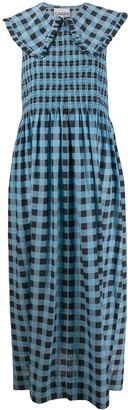Ganni Checkered Oversized Collar Midi Dress