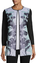 Misook 3/4-Sleeve Textured Floral-Print Long Jacket, White/Navy/Sea, Plus Size
