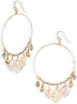 Chan Luu Genuine Cultured Pearl & Shell Dangle Hoop Earrings