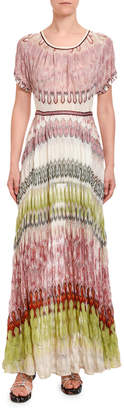 Missoni Colorblocked Short-Sleeve Maxi Dress