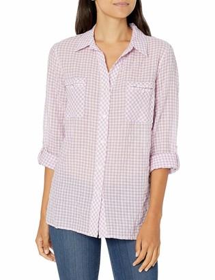 Rafaella Women's Small Gingham Print Long Sleeve Shirt