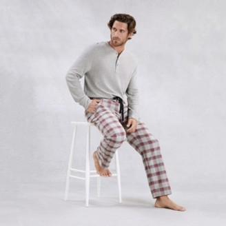The White Company Mens Flannel Novelty Check Pyjama Bottoms, RedGrey, Large