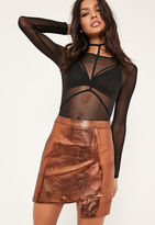 Missguided Petite Exclusive Bronze Faux Leather Wrap Skirt