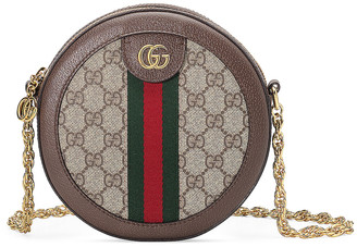 Gucci Ophidia Round Chain Shoulder Bag in Beige Ebony | FWRD