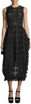 Simone Rocha Eyelet Sleeveless Midi Dress, Black