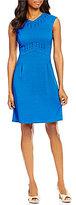 Alex Marie Becky Notch Collar Sleeveless Basketweave Stretch Embroidered Dress