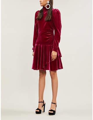 Rotate by Birger Christensen Puffed-sleeve velvet mini dress