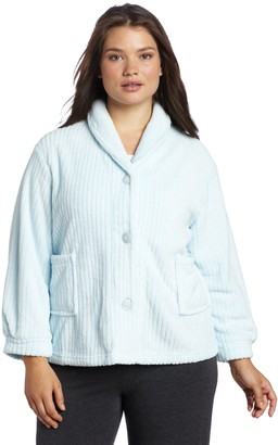 Casual Moments Womens Plus-Size Shawl Collar Bed Jacket