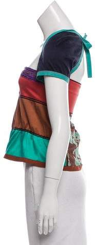 Philosophy di Alberta Ferretti Colorblock Satin Top w/ Tags