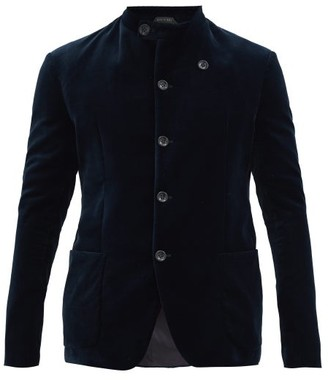 Giorgio Armani Stand-collar Single-breasted Velvet Blazer - Blue