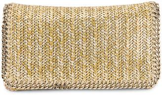Stella McCartney Metallic Fabric Falabella Clutch in Gold | FWRD