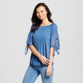 August Moon Women's Smocked Off the Shoulder T-Shirt with Scalloped Pointelle Ruffle Hem