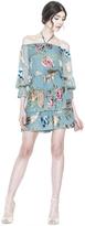 Alice + Olivia Waylon Boatneck Blouson Sleeve Dress