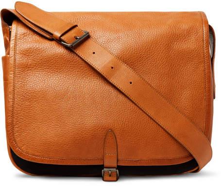 Dries Van Noten Full-Grain Leather And Canvas Messenger Bag