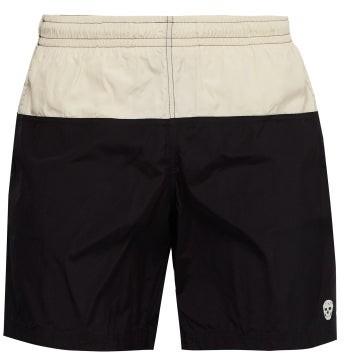 Alexander McQueen Colour-block Skull-embroidered Swim Shorts - Mens - Black White