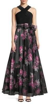 Eliza J Twist Halter Neck Ball Gown