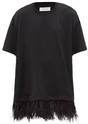 Marques Almeida Marques'almeida - Feathered Cotton-jersey T-shirt Dress - Womens - Black