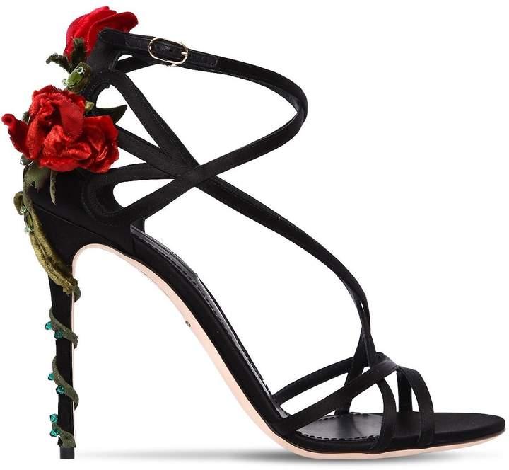 Dolce & Gabbana 105mm Keira Rose Satin Sandals