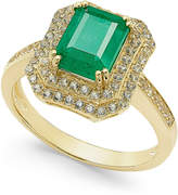 Macy's Emerald (1-1/2 ct. t.w.) and White Sapphire (1 ct. t.w.) Rectangular Statement Ring 14k Gold