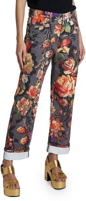 Dries Van Noten Piscos Cotton Floral Trousers