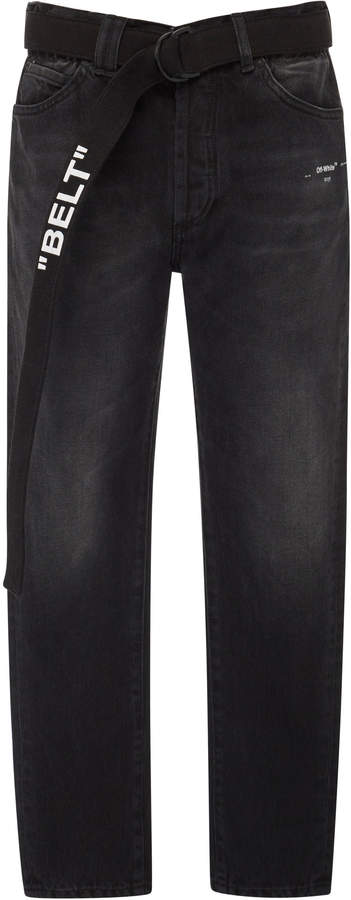 Off-White Belted Distressed Slim-Fit Jeans