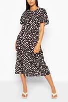 boohoo Tall Woven Spot Print Midi Dress