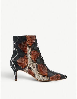 LK Bennett Tamara snakeskin-embossed leather ankle boots