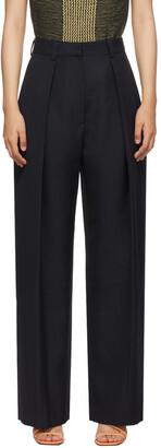 Victoria Beckham Navy Virgin Wool Wide-Leg Trousers