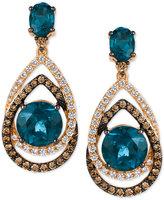 LeVian Le Vian® Chocolatier London Blue Topaz (7-3/4 ct. t.w.) and Diamond (1-1/3 ct. t.w.) Interlocking Teardrop Drop Earrings in 14k Rose Gold, Only at Macy's