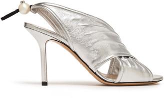 Nicholas Kirkwood Faux Pearl-embellished Gathered Metallic Leather Slingback Sandals