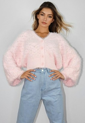 Missguided Pink Pointelle Feather Knit Cardigan
