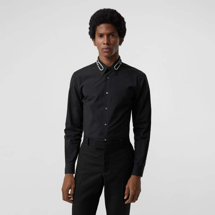 Burberry Slim Fit Bullion Link Cotton Poplin Dress Shirt