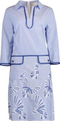 Maison Common Dove Embroidered A-Line Shirt Dress