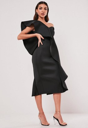 Missguided Black Scuba Ruffle V Neck Midi Dress