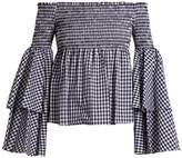 Caroline Constas Appolonia off-the-shoulder gingham-checked blouse