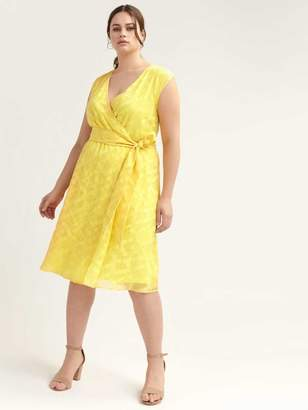 Yellow Faux-Wrap Dress