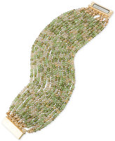 ABS by Allen Schwartz Gold-Tone Green and Clear Beaded Stretch Bracelet