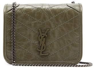 Saint Laurent Niki Mini Leather Cross-body Bag - Womens - Khaki