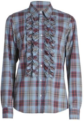 Dries Van Noten Cavile Puff Checkered Button-Front Shirt