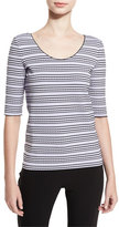 Armani Collezioni Striped Half-Sleeve Tee, Lilac/Black