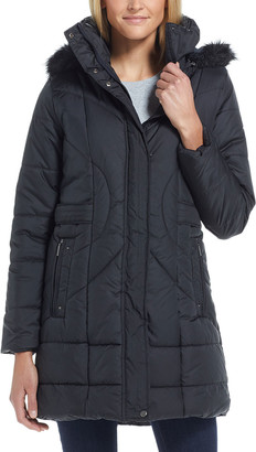 Weatherproof Women's Anoraks & Parkas BLACK - Black Hooded Longline Puffer Coat - Women